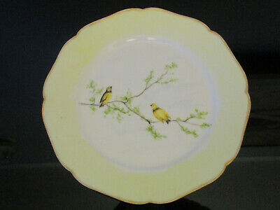 Antique Haviland Limoges French Porcelain Hand Painted Yellow Bird Cabinet Plate