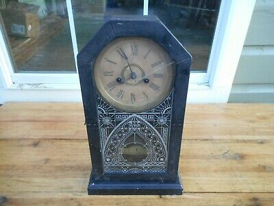 Antique Small Cathedral Ansonia Shelf Mantle Kitchen Clock Working! 1800's