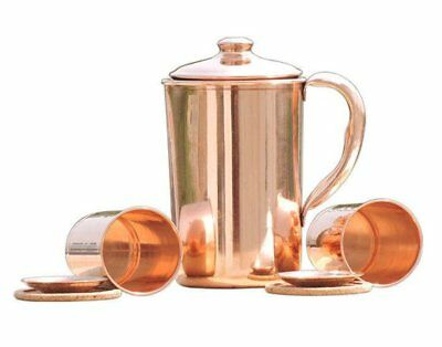 Pure Copper Ayurvedic 1.5ltr Water Storage Jug WITH 2 FREE COPPER GLASSES COMBO
