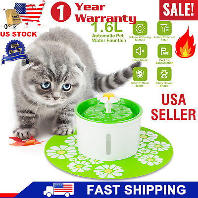 Flower Automatic Electronic Pet Cat Dog Water Drinking Fountain Bowl Filter 1.6l Pet Supplies Cat Supplies