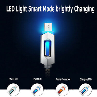 3.3ft/6.6 ft Strong Braided Fast Charging Sync Cable Smart LED Light-up Cord