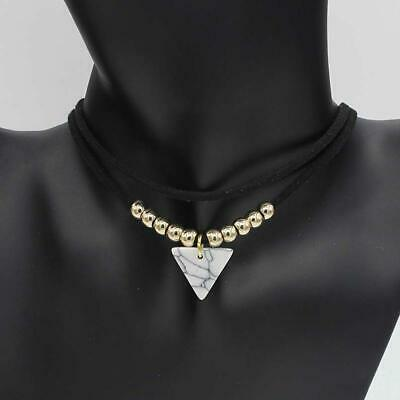 Triangle Stone Choker Double Layer  Necklaces for Women Fashion Bead Y