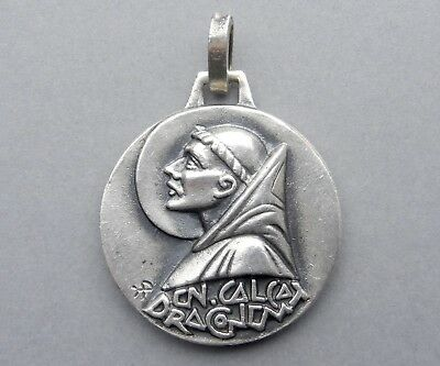 French, Antique Religious Pendant. Saint Benedict of Nursia Benoit. France Medal