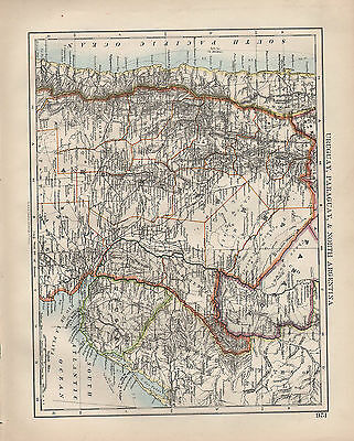 1902 Victorian Map ~ South America Uruguay Paraguay North Argentina