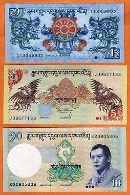BHUTAN 2011-17 Set 3 UNC 1,5,10 Ngultrum Banknotes Paper Money Bills P- 27,28,29