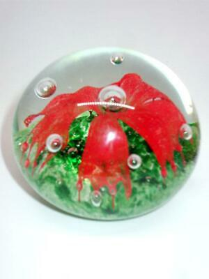 Vintage Art Glass Paperweight Green With Red Flower In Clear Glass