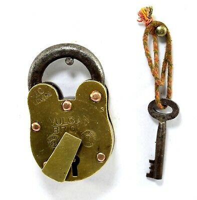 Antique Unique Shape Beautiful Collectible Solid Brass One Key Padlock.i42-27 US