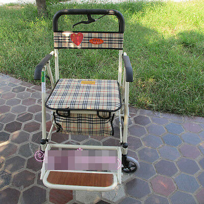 White 4 Wheels Convenient Foldable Shopping Luggage Trolleys With Seat *