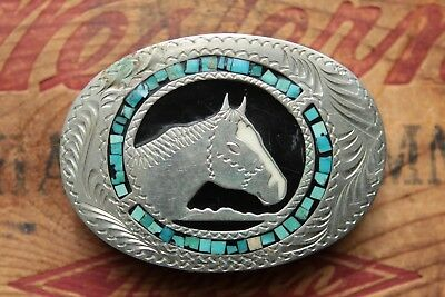 Vintage Hand Made Engraved Turquoise Inlay Horse Head Western Belt Buckle
