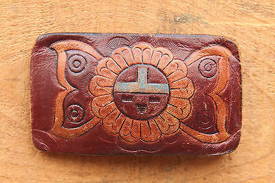 Vintage Native American Style Leather Sun Face Embossed  Western Belt Buckle