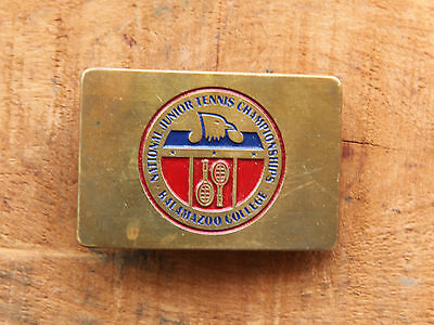Vtg Brass National Junior Tennis Champioships Kalamazo College Belt Buckle