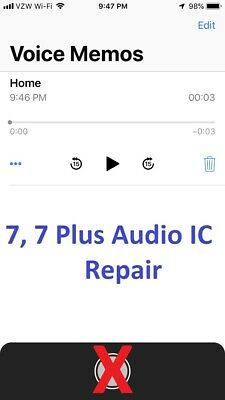 iphone 7, 7 Plus Audio IC Disease No Mic No Speaker Slow to Boot Repair Service