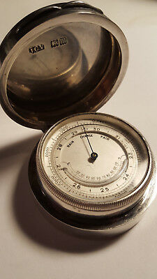 SILVER CASED POCKET BAROMETER THERMOMETER Hallmarked JC Vickery London 1907
