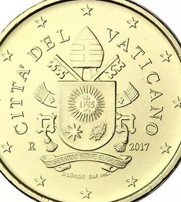 Vatican Coin 50 Cents 2017 Cote D'arms Francis Pope Shield New UNC