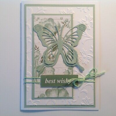 Handmade Birthday card: Beautiful butterfly with sage green.