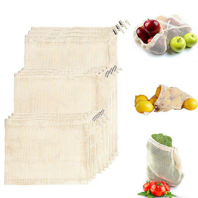 Reusable Cotton Mesh String Grocery Fruit Storage Shopping Bags Produce Bags UK