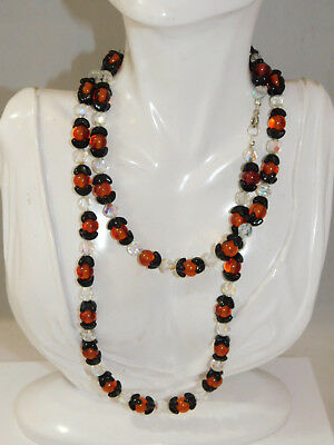 "Molded Black Flower Carnelian color Glass Faceted Crystal bead 36"" Necklace 9c62"