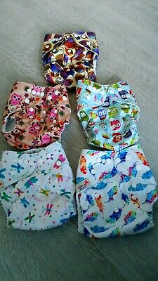 Reusable Washable Cloth Nappy Bundle x 5 pocket nappies  boosters and liners.