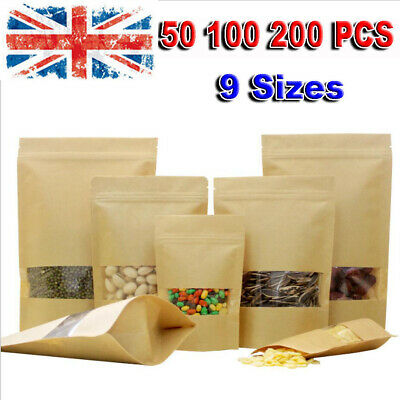 100 Zip Lock Kraft Paper Bag Window Stand Up Pouch Resealable Heat Seal Display