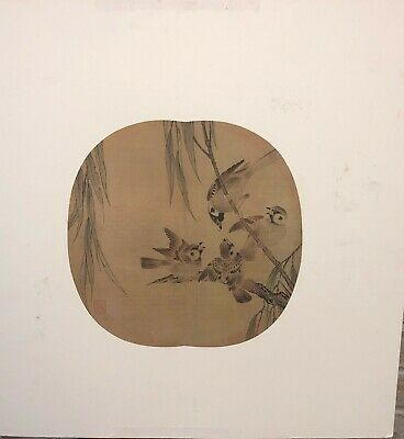 Antique Chinese Silk Fan Painting Kesi signed  birds unknown date
