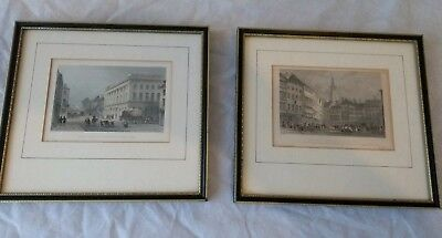 Two (2) 19th Century Hand coloured Engravings. Newcastle upon Tyne. Royal Arcade