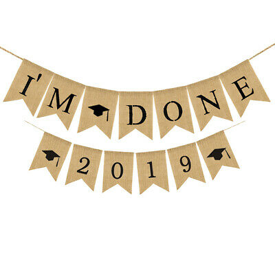 """""""I'm Done""""Hanging Bunting Garland 2019 Graduation Cap Party Banner ^Decor Supply"""