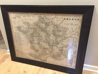 Antique Style French Map Framed