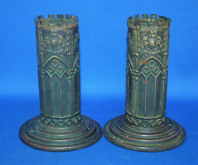A rare pair of antique gothic spill vases, bronzed brass Victorian, Days Patent