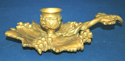 A Victorian chamber candlestick, super detailed  gilt brass vine leaf and grape