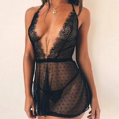 Women Sexy Lingerie Nightwear Underwear Babydoll Sleepwear Lace G-string Set AU