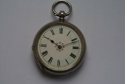 VINTAGE 1920's SOLID SILVER SWISS MADE LADIES FOB WATCH