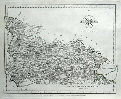 YORKSHIRE, WEST RIDING, Skipton, Settle,Otley, Tadcaster, Cary antique map 1787