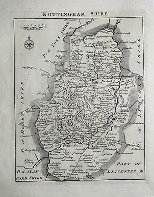 NOTTINGHAMSHIRE, John Roque, England Displayed, Antique County Map 1769