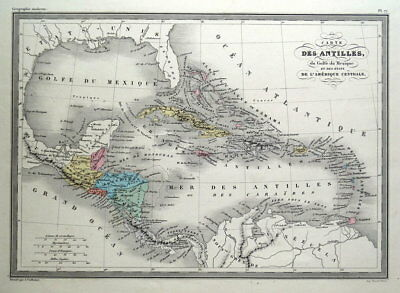 WEST INDIES, CENTRAL AMERICA, CARIBBEAN, Malte Brun original antique map c1850