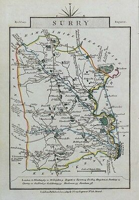 SURREY & LONDON John Cary  Hand Coloured Miniature Antique County Map 1819