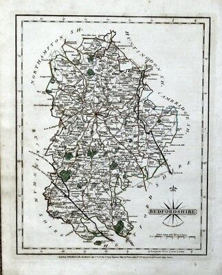 BEDFORDSHIRE John Cary Original Antique County Map Vintage Hand Coloured 1793