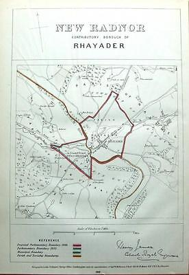 WALES, POWYS, RHAYADER,LLANSANTFFRAED,  Boundaries Commission Antique Map 1868