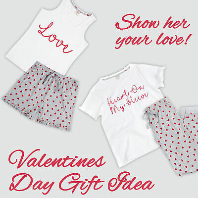 Womens Ladies 100% Cotton Rich Pyjama Sets Shorts Cropped Novelty Pattern Cute