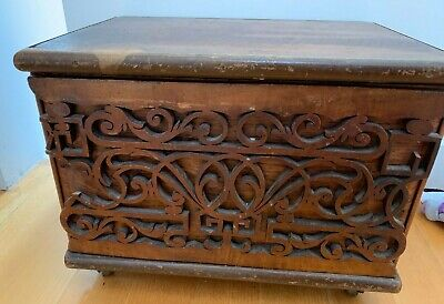 Antique wooden box with fret work on front with lid handmade collectors item