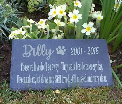Personalised Engraved Slate Pet Memorial Grave Marker Plaque Dog - Cat - Rabbit