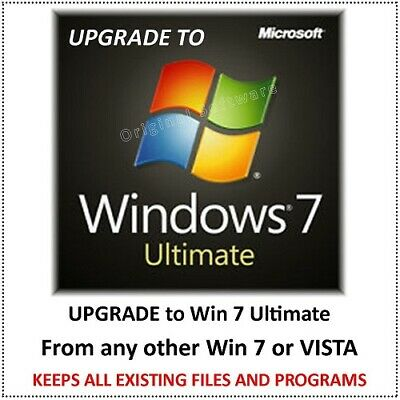 UPGRADE to Win 7 ULT from ANY Win 7 or VISTA 32 OR 64BIT - KEEPS ALL FILES