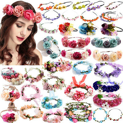 Garland Boho Large Flower Crown Floral Women Hairband Headband Party Wedding UK
