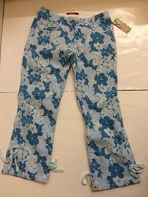 UNIONBAY Girls Blue Floral Capri Stretch Jeans NEW WITH TAGS Sz 14 REG 7-16?