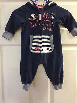 NEXT Baby Blue Hooded Rabbit All In One PJ Sleep Suit Outfit Size 3-6 Months