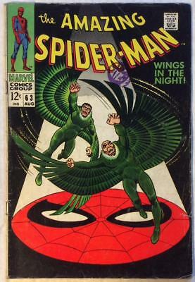 Amazing Spider-Man #63 (Marvel 1968) Silver age classic. VG+ condition.