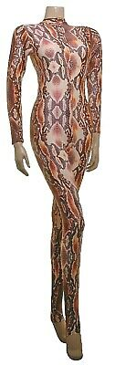Catsuit Long Sleeves Polo Full Back Brown Snake animal Print - (ELSA)