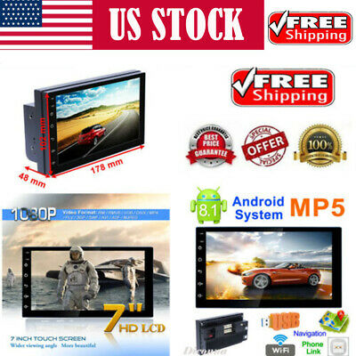 Android8.1 WiFi 2Din 7'' HD Quad Core GPS Navi Car Stereo MP5 Player AM/FM Radio