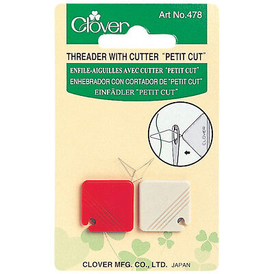"Clover Threader With Cutter ""Petit Cut"" - Pack Of 2 Red & Cream - Convenient Bn"