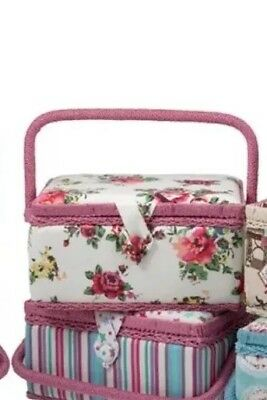 Sewing Box- White Background With Flowers And Pink Trim- Sewing Basket/Work Box