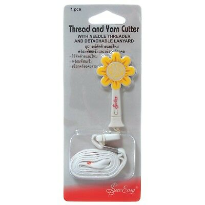 Sew Easy Daisy Thread & Yarn Cutter With Handy Needle Threader - Travel Lanyard